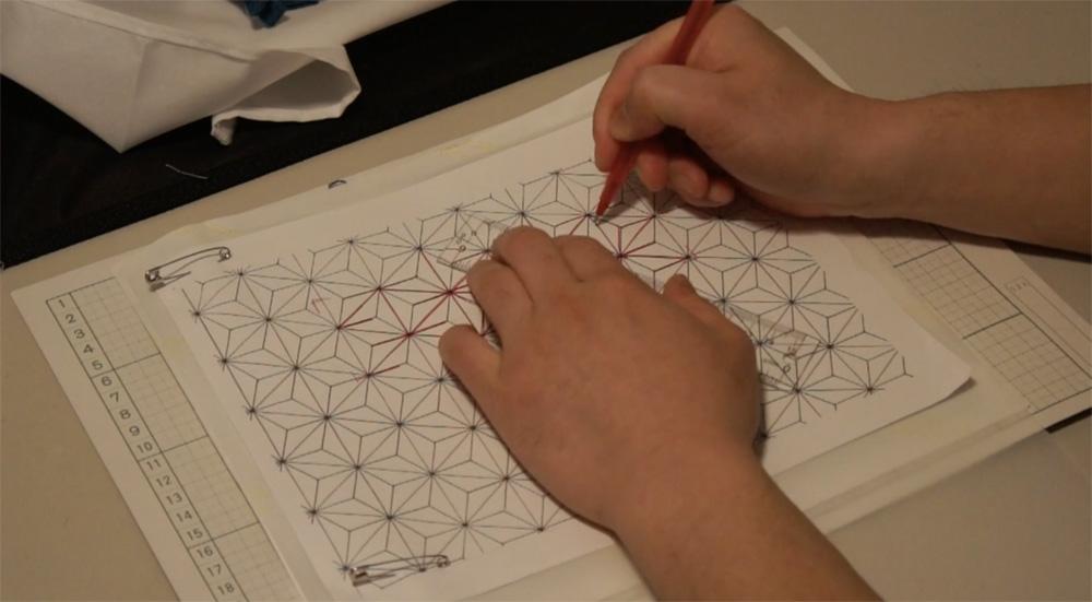 How to transfer Sashiko Patterns on to Fabric _5
