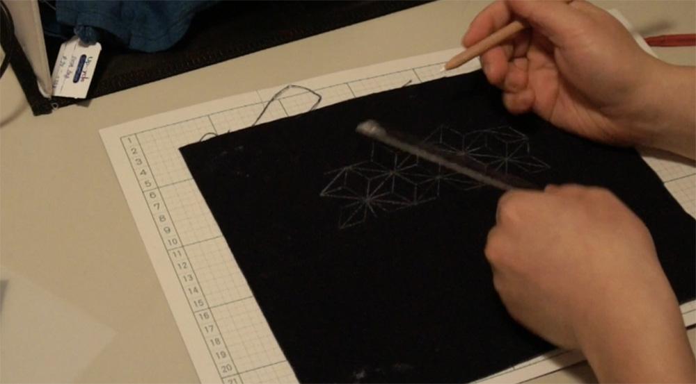 How to transfer Sashiko Patterns on to Fabric _6