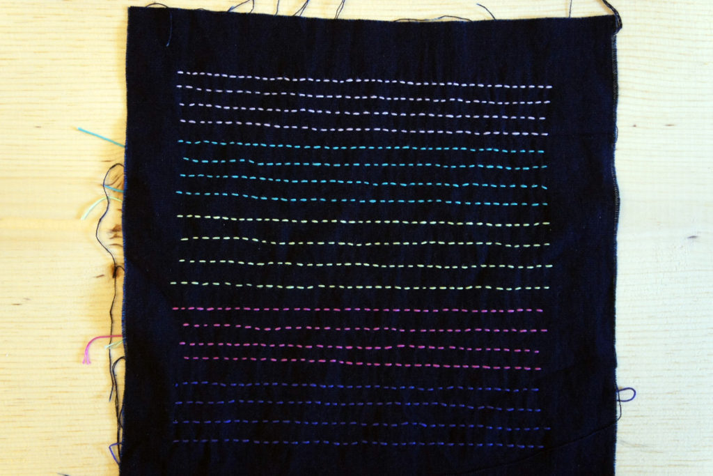 Pastel Color Sashiko Thread Stitch Sample